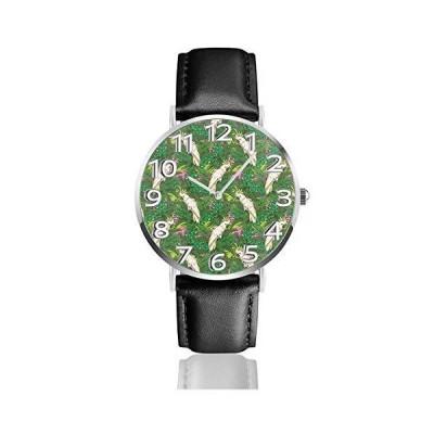 腕時計 熱帯の葉を持つ黄色の紋付きオウム鳥 ウオッチ クラシック カジュアル 防水 クォーツムーブメント レ?