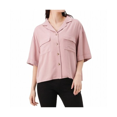 (MAC HOUSE(women)/マックハウス レディース)NAVY ネイビー ハイブリッドレーヨン オープンカラー半袖シャツ 301506MH/レディース ピンク