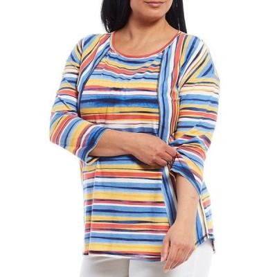 ウエストバウンド レディース Tシャツ トップス Plus Size 3/4 Sleeve Seamed Sunrise Stripe Tee