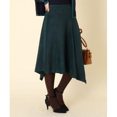 Couture Brooch/クチュールブローチ 【WEB限定サイズ(LL)あり/手洗い可】イレギュラーヘムシャギーチェックスカート ダークグリーン(223) 38(M)