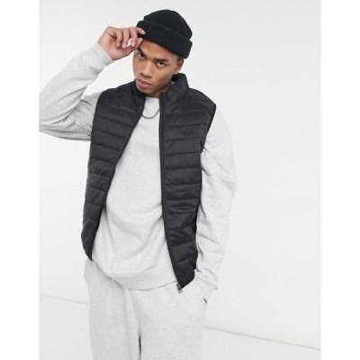 ソウルスター メンズ ジャケット・ブルゾン アウター Soul Star lightweight vest with carry pouch in black