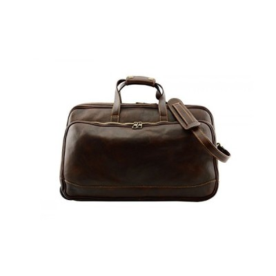 Made In Italy Genuine Vegetable Tanned Leather Trolley Travel Bag Color Dark Brown Tuscan Leather - Travel Bag 並行輸入品