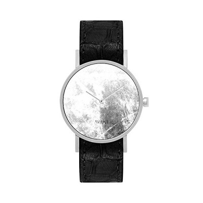 South Lane Stainless Steel Swiss-Quartz Watch with Leather Calfskin Strap, Black, 20 (Model: AW18-9) 並行輸入品