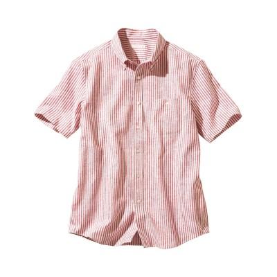 スッキリ見せ麻混ストライプボタンダウン半袖シャツ(消臭テープ付) カジュアルシャツ, Shirts,