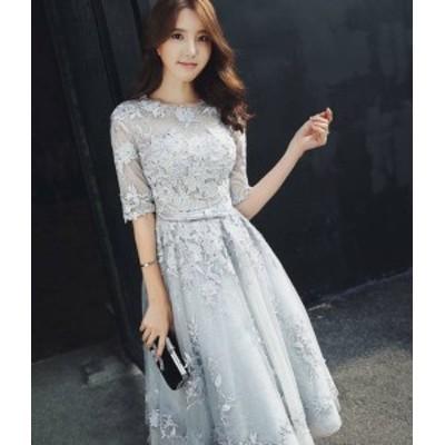 パーティードレス 結婚式 ロング 大きいサイズ ワンピースドレス ミモレ丈 リボン 袖あり 透け感 ハイウエスト フレア お呼ばれ 二次会