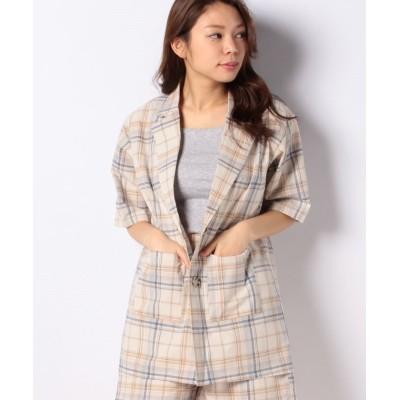 【ウィゴー】 WEGO/5分袖チェックシャツジャケット レディース ホワイト系 F WEGO