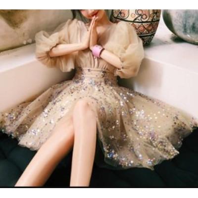 韓国 ファッション レディース パーティドレス ワンピース ミニ丈 スパンコール Vネック エレガント セクシー お呼ばれ 結婚式 二次会 披