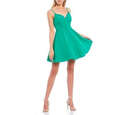 シティヴァイブ レディース ワンピース トップス Spaghetti Strap Notch Neckline Fit-and-Flare Dress