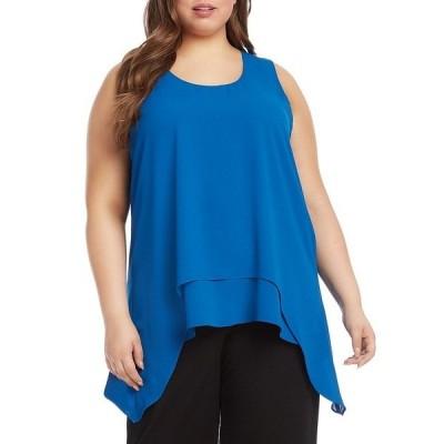カレンケーン レディース シャツ トップス Plus Size Solid Silky Crepe Scoop Neck Double Layered Sleeveless Top Blue