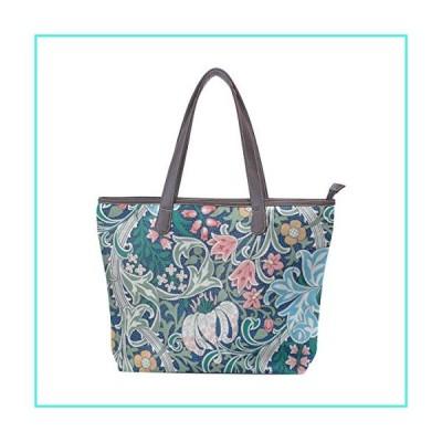 【新品】Women Large Tote PU Leather Shoulder Bags William Morris Prints Ladies Handbag(並行輸入品)