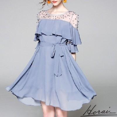 ドレス 袖あり ショート丈 レース シースルー スカート ワンピース フォーマル 結婚式 二次会 秋冬 20代 30代 40代 お取り寄せ