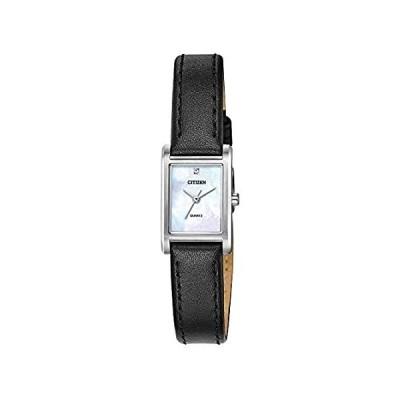 〈新品送料無料〉Citizen クォーツ レディース 腕時計 ステンレススチール レザーストラップ クリスタル ブラック (モデル:EJ6121-01D)