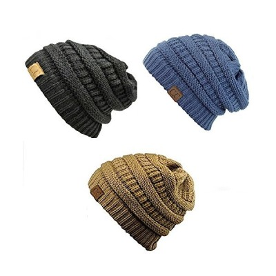 Trendy ワーム Chunky ソフト ストレッチ ケーブル ニット Slouchy Beanie Skully HAT20A ((海外取寄せ品)