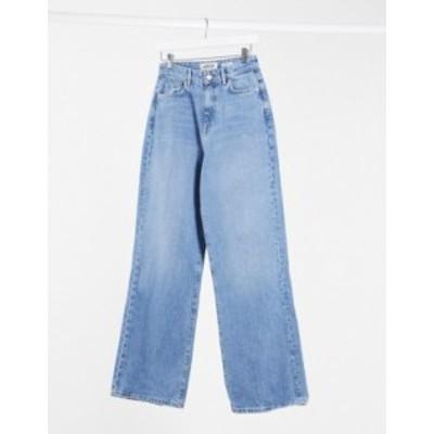 ニュールック レディース デニムパンツ ボトムス New Look wide leg jean in mid blue Mid blue