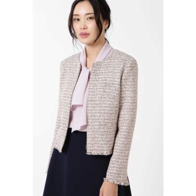 ◆カラーミックスツィードジップアップジャケット ピンク