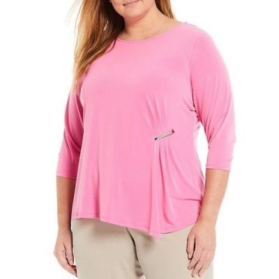 カルバンクライン レディース Tシャツ トップス Plus Size Solid Matte Jersey 3/4 Sleeve Ruched Side-Bar Detail Top
