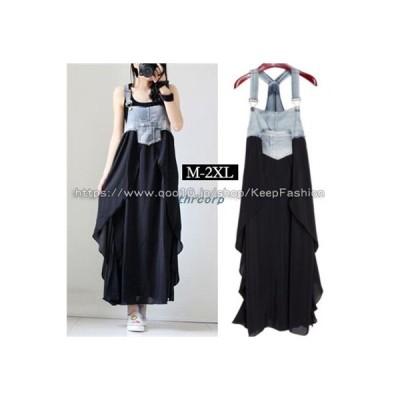 新品入荷韓国ファッションズボンサロペットスカートロングパンツレディースゆったり/デニムワンピース春夏デニムサスペンダースカートT733