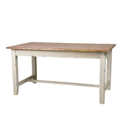 ダイニングテーブル 食卓机 カフェテーブル リビングテーブル 天然木 幅145cm ダメージ加工 AZ-0004