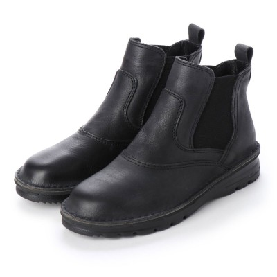 ジェイエスハートレーベル JS HEART LAVEL 軽量サイドゴアショートブーツ (ブラック)