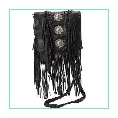 Scully Women's Leather Fringe With Large Conchos Shoulder Bag Black One Size並行輸入品