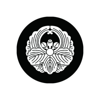 家紋シール 白紋黒地 浮線柏 布タイプ 直径23mm 6枚セット NS23-2691W