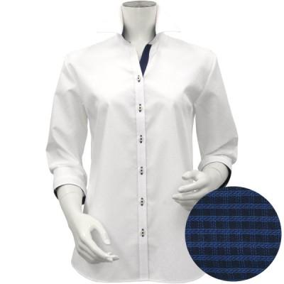 レディース ウィメンズシャツ 七分袖 形態安定 スキッパー衿 綿100% 白×ドット織柄