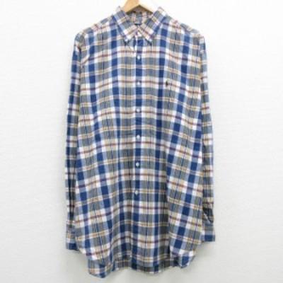 古着 長袖 ブランド シャツ 90年代 90s ラルフローレン Ralph Lauren ワンポイントロゴ 大きいサイズ ロング丈 コットン ボタンダウン 紺