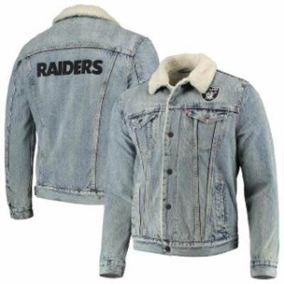Levis リーバイス アウターウェア ジャケット/アウター Levis Oakland Raiders Blue Full-Snap Sherpa Denim Trucker Jacket