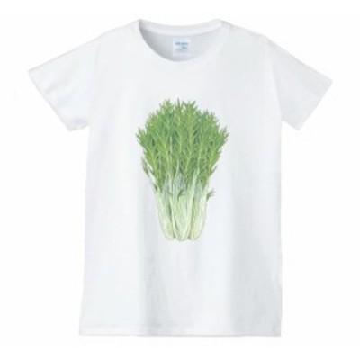 水菜 レディース 食べ物 野菜 スイーツ Tシャツ 白
