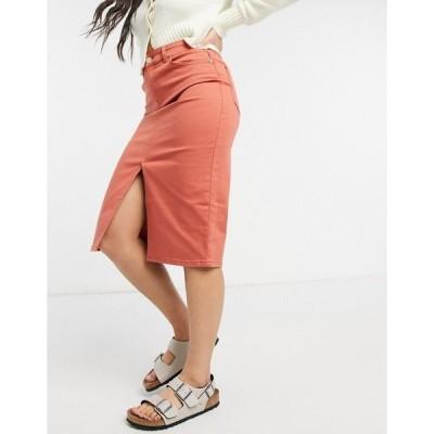 オアシス レディース スカート ボトムス Oasis split front denim midi skirt in brown Mid brown