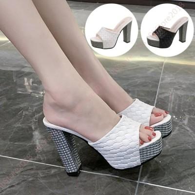 ストーム付き ハイヒール ミュール サンダル 黒 レディース 靴 美脚 大きいサイズ つっかけ パーティ 厚底 履きやすい 歩きやすい チャンキーヒール 11.5cm