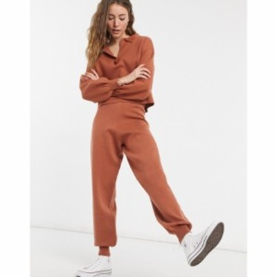 エイソス ASOS DESIGN レディース ジョガーパンツ ボトムス・パンツ Lounge Premium Knitted Joggers In Rust ブラウン