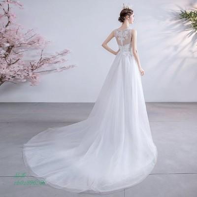 ウェディングドレス Aライン トレーンライン 花嫁 ロングドレス 簡約 お呼ばれ 可愛い エレガント 10686ドレス 二次会 パーディ- 結婚式 レース 露背 姫系