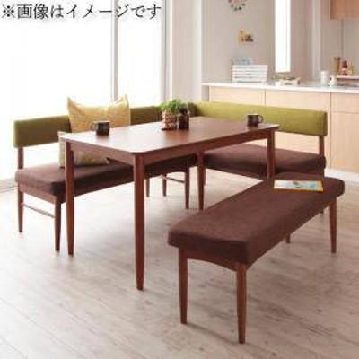 ダイニングテーブルセット 6人用 コーナーソファー L字 l型 ファミレス風 ベンチ 椅子 おしゃれ 安い 北欧 食卓 4点 ( 机+ソファ1+肘ソフ