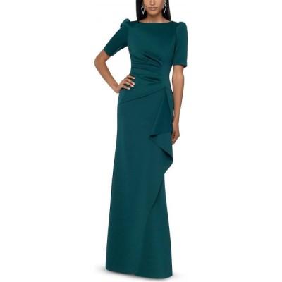 エックススケープ XSCAPE レディース パーティードレス ワンピース・ドレス Ruched A-Line Gown Midnight Blue
