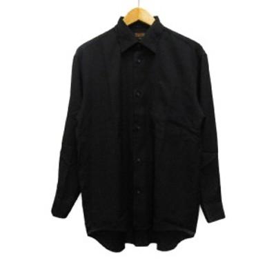 【中古】ナザレノ ガブリエリ Nazareno Gabrielli カジュアルシャツ 長袖 レギュラーカラー 総柄 46 黒 ブラック メンズ