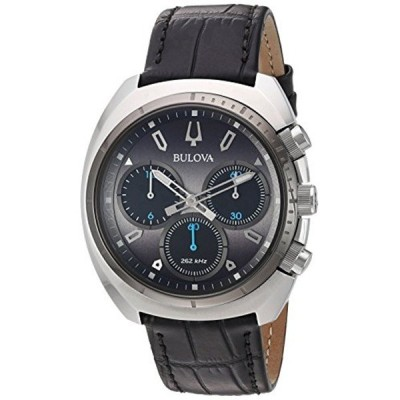 ブローバ Bulova 腕時計 時計 Bulova Men's 'Curv Collection' Quartz Stainless Steel and Leather Casual Watch, Color:Black (Model: 98A155)