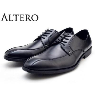 ALTERO (アルテロ) 32001 (BLACK) メンズ 軽量 ビジネスシューズ 革靴  紳士靴 幅広 3E 防水 防滑 スワールモカシン
