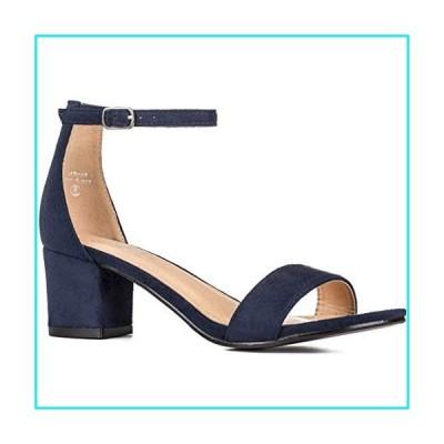ILLUDE Women's Fashion Ankle Strap Kitten Heel Sandals - Adorable Cute Low Block Heel ? Jasmine (9, Navy Suede)【並行輸入品】