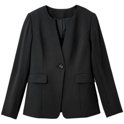 【ぽっちゃりさんサイズ】キーネックジャケット(吸汗速乾・UVカット・防しわ機能・洗濯機OK)/ブラック/LL