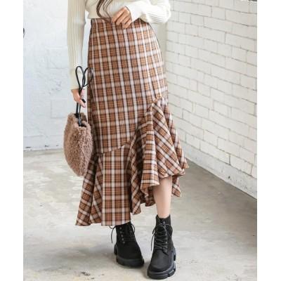 kobelettuce / チェック柄アシメフリルスカート WOMEN スカート > スカート