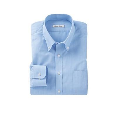 [nissen(ニッセン)] ワイシャツ 長袖 形態安定 抗菌防臭 ボタンダウン メンズ 水色 サックス系 LLサイズ (首廻り43cm 裄丈82cm