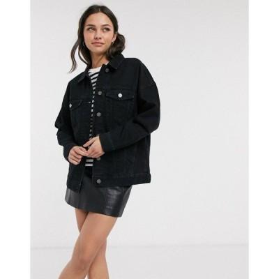 エイソス レディース ジャケット・ブルゾン アウター ASOS DESIGN oversized denim jacket in black Black