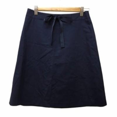 【中古】ナチュラルビューティーベーシック スカート 台形 ひざ丈 無地 リボンベルト M 紺 ネイビー レディース
