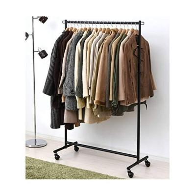 山善 ハンガーラック 衣類収納 幅96cm 耐荷重85kg シングル 収納棚 キャスター付き 頑丈 組立品 マットブラック YIH-S(MB