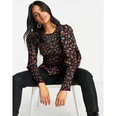 エイソス ASOS DESIGN レディース トップス Asos Design Long Sleeve Satin Shirred Top In Floral Print マルチカラー