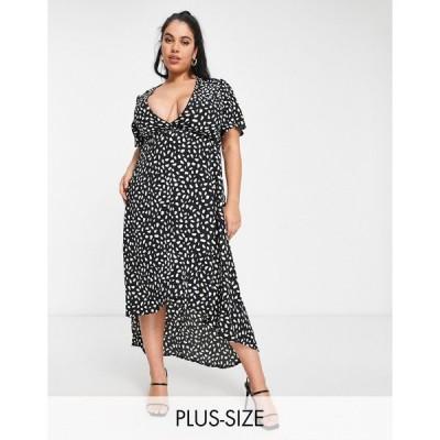 ミスガイデッド ドレス 大きいサイズ レディース Missguided Plus midi dress with high low hem in black エイソス ASOS ブラック 黒
