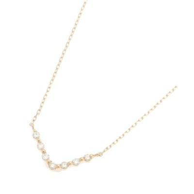 (COCOSHNIK/ココシュニック)ダイヤモンド ふせ込み V字ネックレス/レディース イエローゴールド(104)