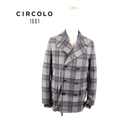 CIRCOLO1901 チルコロ1901 6B Pコート チェック ダブルブレスト プリント ジャージー 92047244130 GRIG グレー 国内正規品