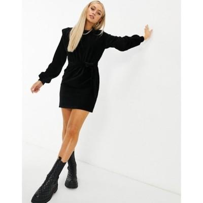 エイソス レディース ワンピース トップス ASOS DESIGN cord mini dress with shoulder detail in black